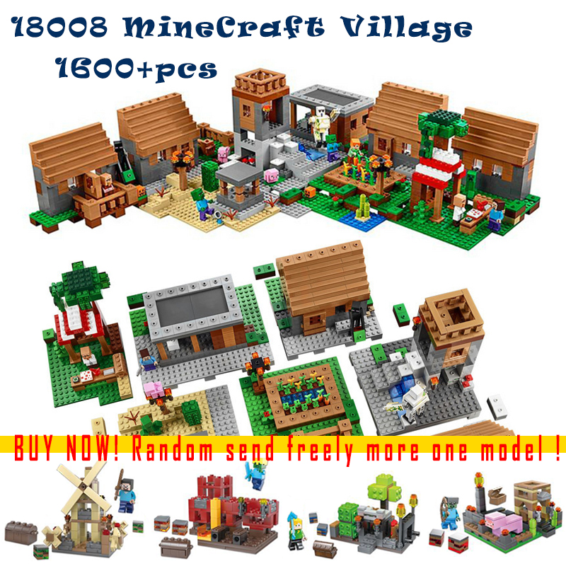 1600+pcs Model building kits compatible with lego my worlds MineCraft Village blocks Educational toys hobbies for children lele my world power morse train building blocks kits classic educational children toys compatible legoinglys minecrafter 541 pcs