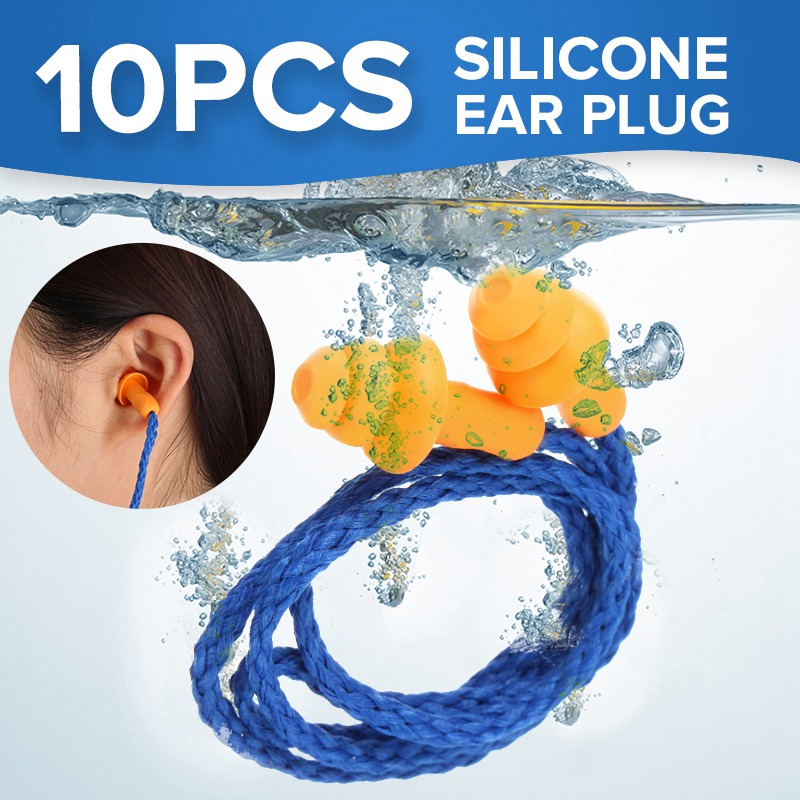 NEW 10Pcs Soft Silicone Corded Ear Plugs ears Protector Reusable Hearing Protection Noise Reduction Earplugs Earmuff 30 200 pairs soft silicone corded ear plugs ears protector reusable hearing protection noise reduction earplugs earmuff