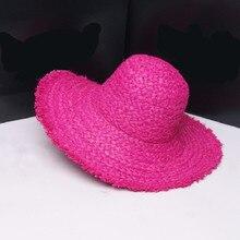 Sun-Hat Raffia Sun-Protection-Caps Wide-Brim Foldable Kids Women Beach Summer Solid Crunch