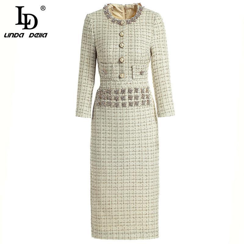 LD LINDA DELLA Fashion Runway Autumn Winter Dresses Women's Long Sleeve Gorgeous crystal Beading Vintage Pencil Elegant Dress