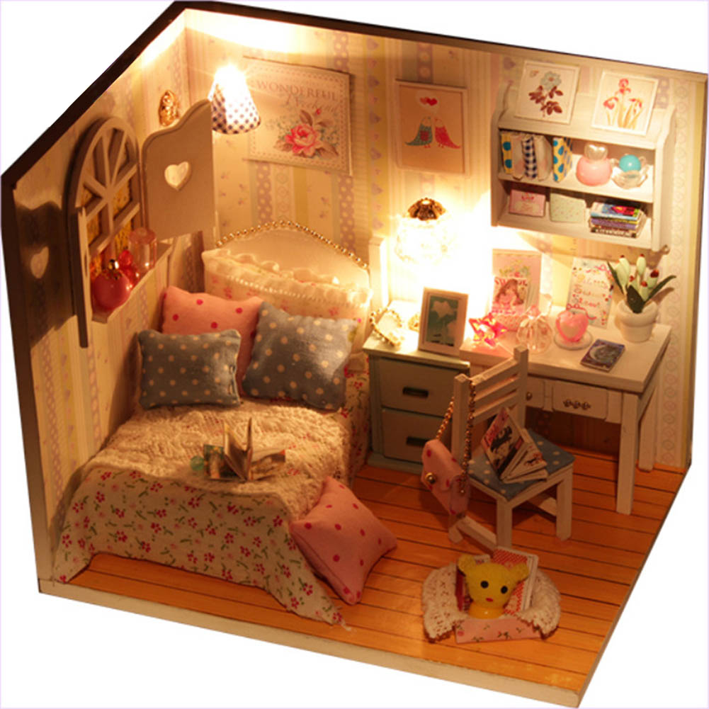 DIY Blooming Pinellia Hut Dolls House Miniature Cover LED Light For Kids Furniture DIY Hut Miniatures Toy
