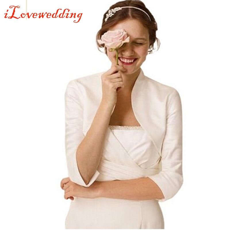 cea93757df2f6 Custom Made Yüksek Kalite Düğün Ceket Sarar Saten Shrug Gelin Bolero Ceket  Kaban 3/4 Uzunluğu Kol Artı Boyutu Kadın Belero
