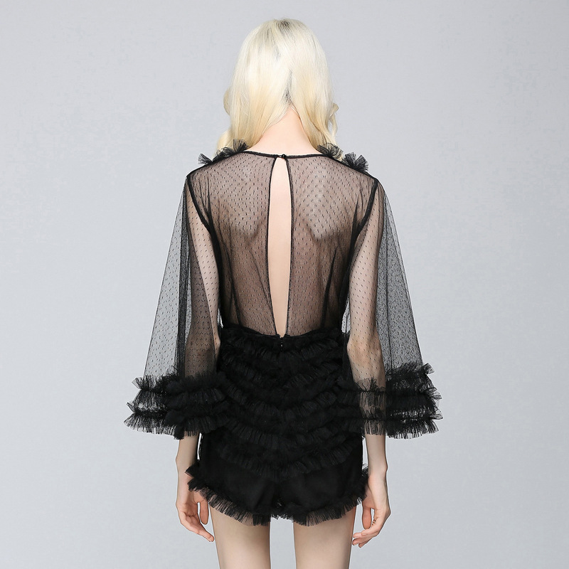 Womens Perspective 2017 Neck Shorts Rompers Ruffles Summer V Lace Black Sipaiya Flare Bodysuit Sexy Backless Jumpsuit Sleeve Mesh 0xPR6wfqd