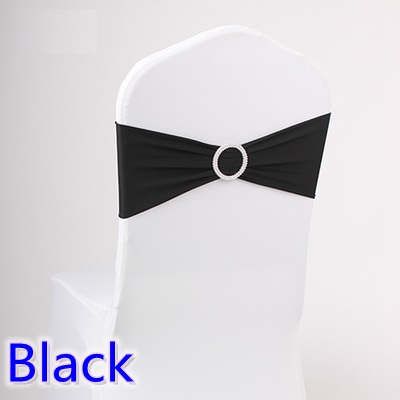 chair sashes for weddings spandex band with rhinestone for chair covers black colour wedding sash for chairs decoration on sale