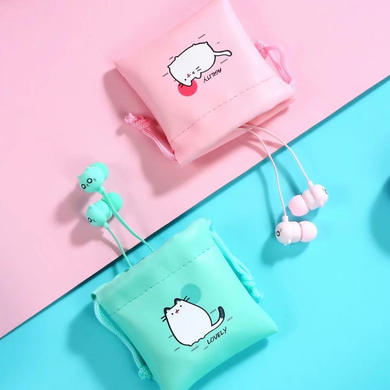 Cute Cat Wired Earphone With Mic Stereo Earbuds With Earphone Case For Xiaomi Samsung IPhone Mobile Phone For Girls Women Gifts