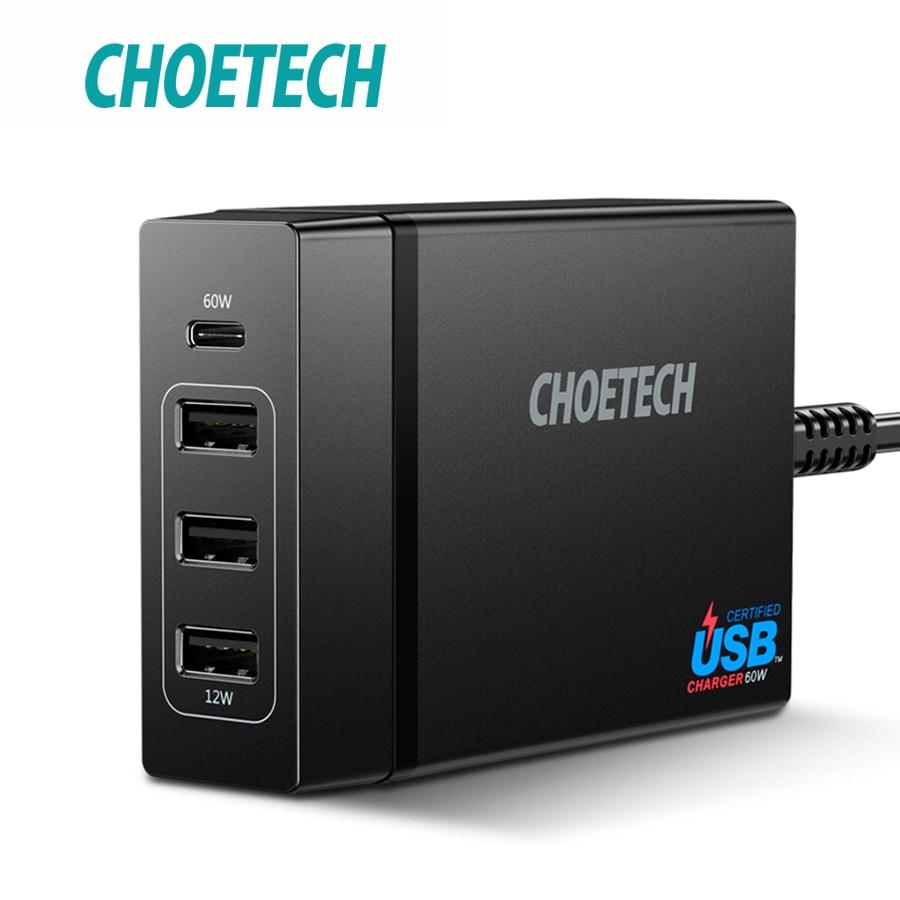 CHOETECH 72 w 4 Porte USB Tipo C Caricabatteria Da Tavolo Stazione con Erogazione di Potenza Per iPhone X 8 Più Il MacBook pro Caricatore Del Telefono Mobile