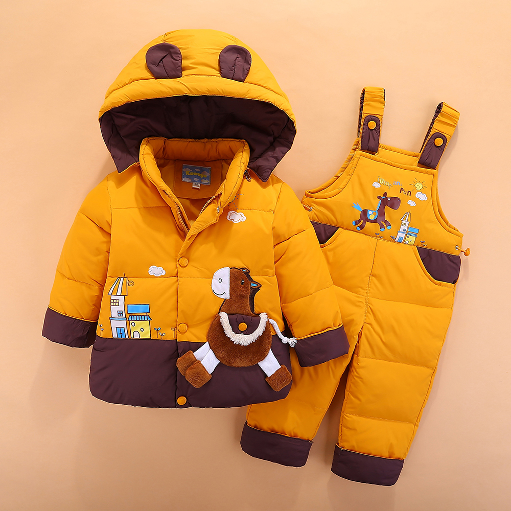 sets suit thick baby children's down jacket, two pieces of winter clothes for children and children, 1-2-3 years old все цены