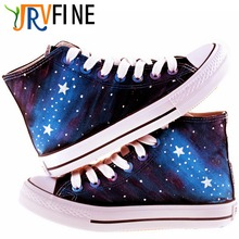 YJRVFINE Fashion Lace Up Breathable Blue Purple Star Unisex Canvas Casual Shoes Men Outdoor Walking Graffiti Shoes R1028M