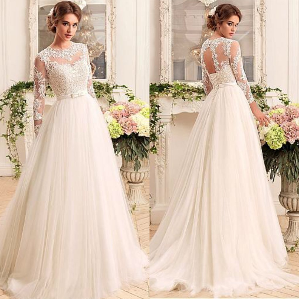 New Hot Long Sleeve Wedding Dress See Through Appliques A-Line Tulle Gowns Court Train  Lace Up Bridal Gowns Vestidos De Noiva
