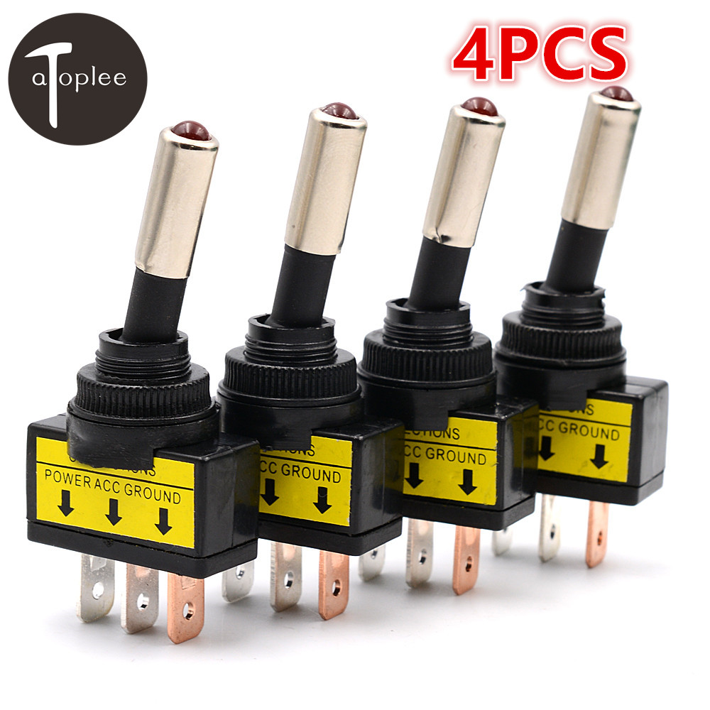 4PCS 12V 20A Car Auto Red/Blue/Yellow/Green Color LED Light Toggle Rocker Switch 3 Pin SPST ON/OFF Vehicles Switches
