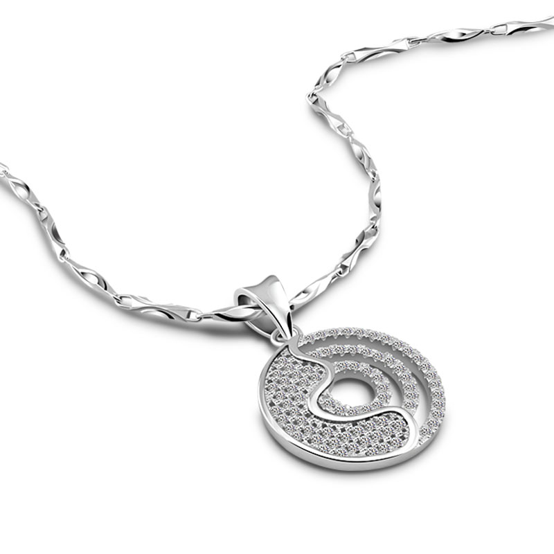 Hot Sale Promotion  New Fashion Shiny Zircon Crystal Circle 925 Sterling Silver Women's Pendant Necklaces Silver Jewelry Gift