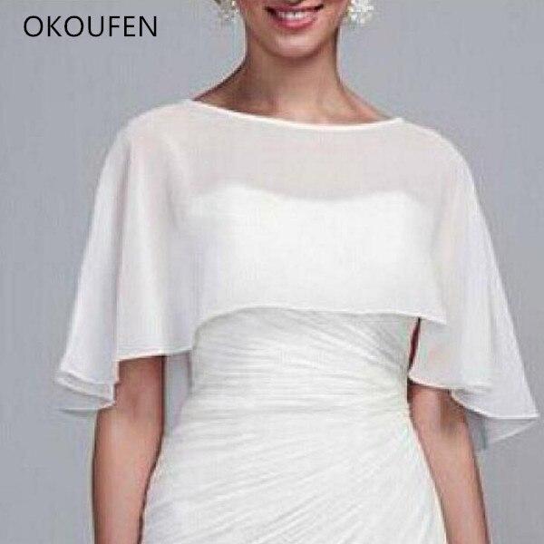 Wedding Bolero Women Bridal Capes Chiffon White Short Cloak chaqueta mujer Elegant Bride Dress Jackets Wraps Wedding Accessories
