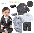Free Shipping 4sets/lot Baby Boy's Formal Romper with Vest in One,cap and Coat Set