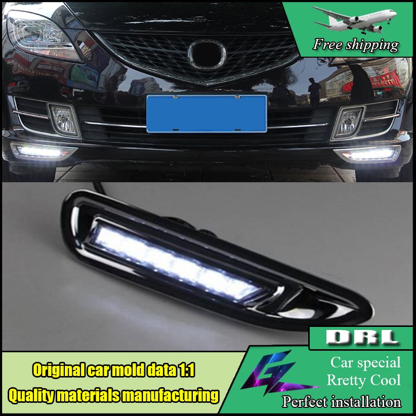 Car styling LED DRL For Mazda 6 2006 2007 2008 2009 Super Brightness Waterproof Car DRL 12V LED Daytime Running Light Daylight 2x led daytime running light with fog lamp cover for mercedes benz ml350 w164 2006 2007 2008 2009 automotive accessories
