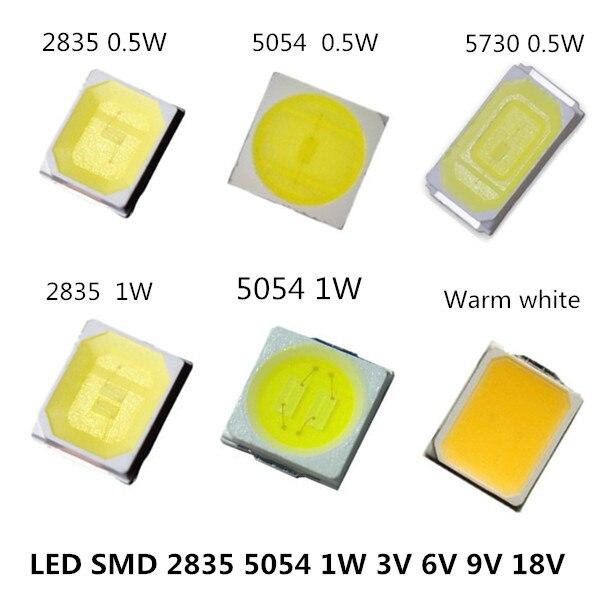 105 pièces SMD LED 2835 5054 5730 puces haute puissance 0.5 W 1 W 3 V 6 V 9 V 18 V 30 120LM Ultra lumineux perles lampe à Diode électroluminescente