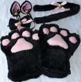 1 Set Cat Ears Plush Paw Claw Gloves Tail Ribbon Anime Cosplay Costumes 5 Colors