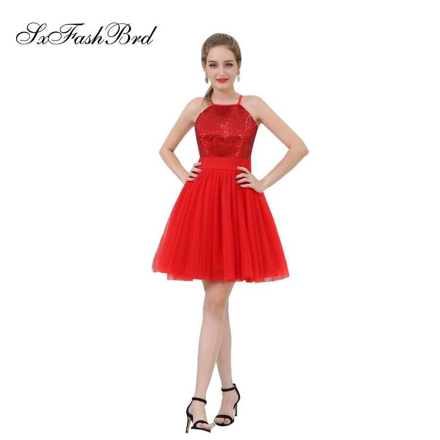 ceb1d37af73 Vestido Branco Longo Холтер шеи Линия Тюль Мини Короткие вечерние  элегантные платья Для женщин Вечеринка платье