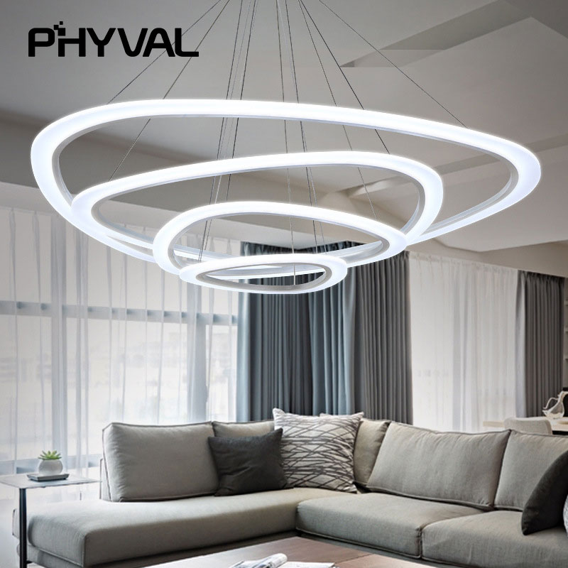 pendant lamp New Modern pendant lights for living room dining room 4/3/2/1 Circle Rings acrylic LED Light ceiling Lamp fixtures magic time алые звезды