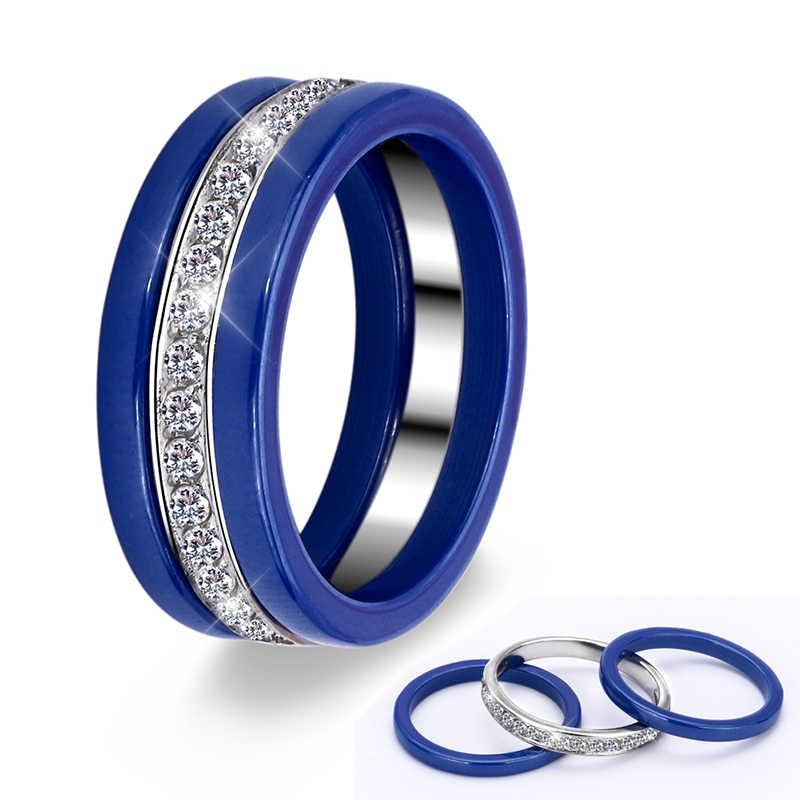 New Arrival 3 cái/bộ Gốm Nhẫn Set CZ Đá Đầy Màu Sắc Đen Trắng màu xanh Màu Hồng Tím Có Thể Được Chia Thời Trang Trang Sức Cho Nữ Gift