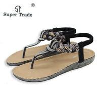 Exquis Diamant Bohème National Strass Mode Plat Chaussures Femmes Sandales Grande Taille Casual Chaussures Étés Sandales ST527-1