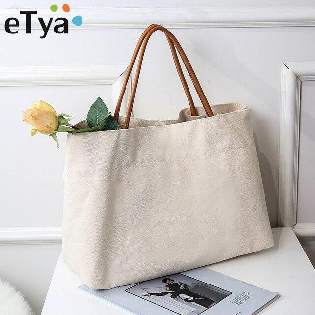 4417791f3985 eTya Canvas Women s Tote Fashion Handbags Female Purses Shopping Bag  Ladies  Shoulder Bag School Books Bag Large Travel Handbag