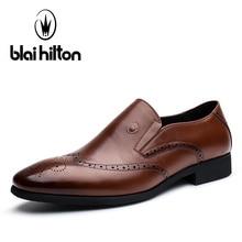 Blaibilton Дизайнер Натуральная кожа лоскутное платье в деловом стиле мужские туфли без шнуровки броги модные классические повседневные мужские туфли оксфорды