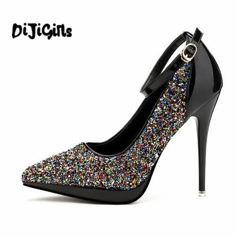 2018 Women pumps Luxury sequined ankle strap buckle platform female high heels Fashion Spring Autumn wedding party shoes woman xexy small square toe medium heels natural leather women shoe spring autumn buckle strap dance party sweet platform women pumps