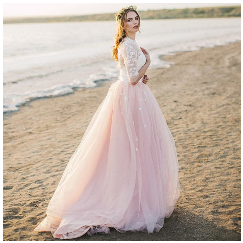 LORIE Boho Half Sleeves Wedding Dress 2019 Robe De Mariee Vintage Lace Top New Bridal Dress Puffy Chiffon Wedding Dresses