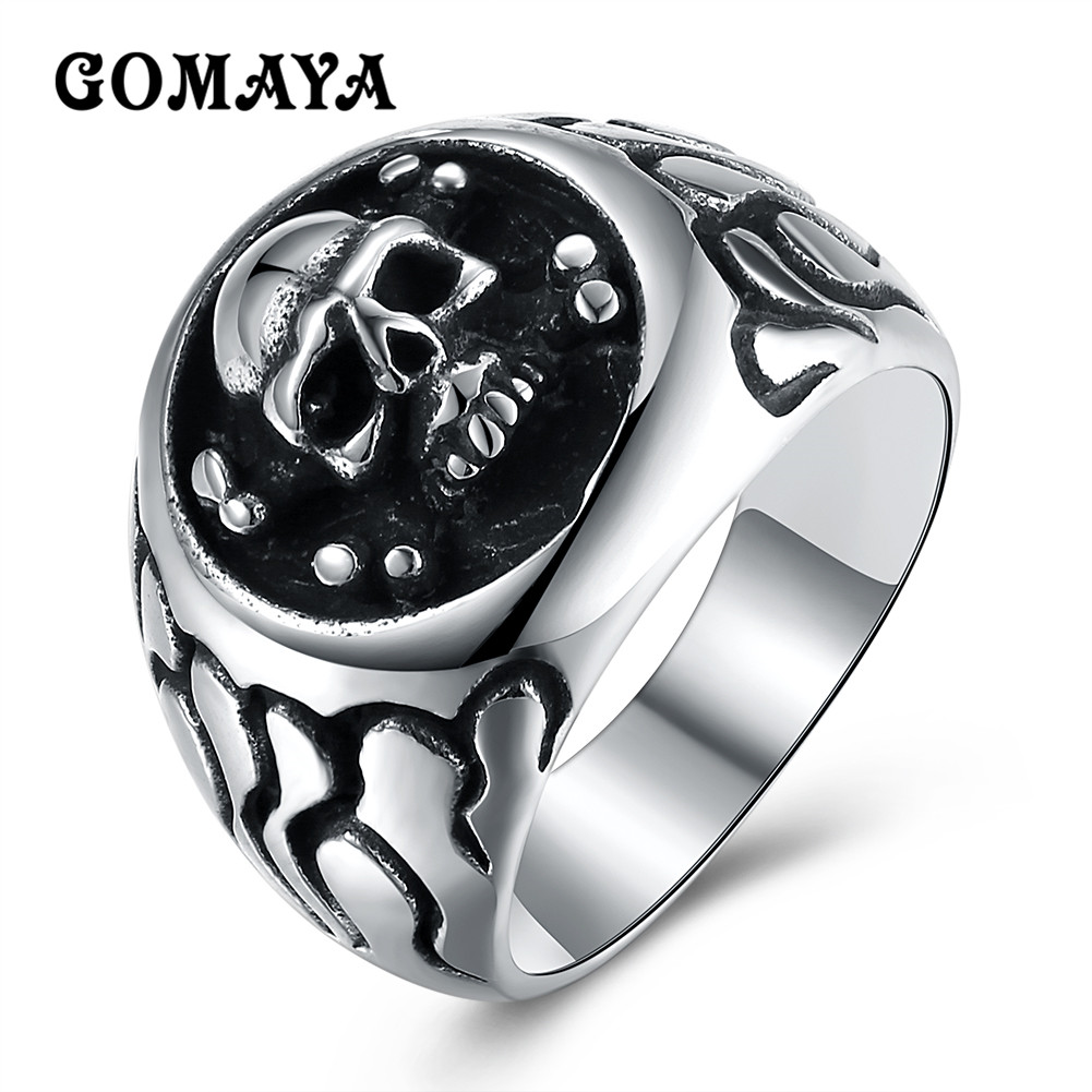 GOMAYA Masculino Punk Vintage Trend Men 39 s Ring Gothic Men 39 s Skull Biker Ring Man fashion Free Shipping Bague Titanium in Rings from Jewelry amp Accessories