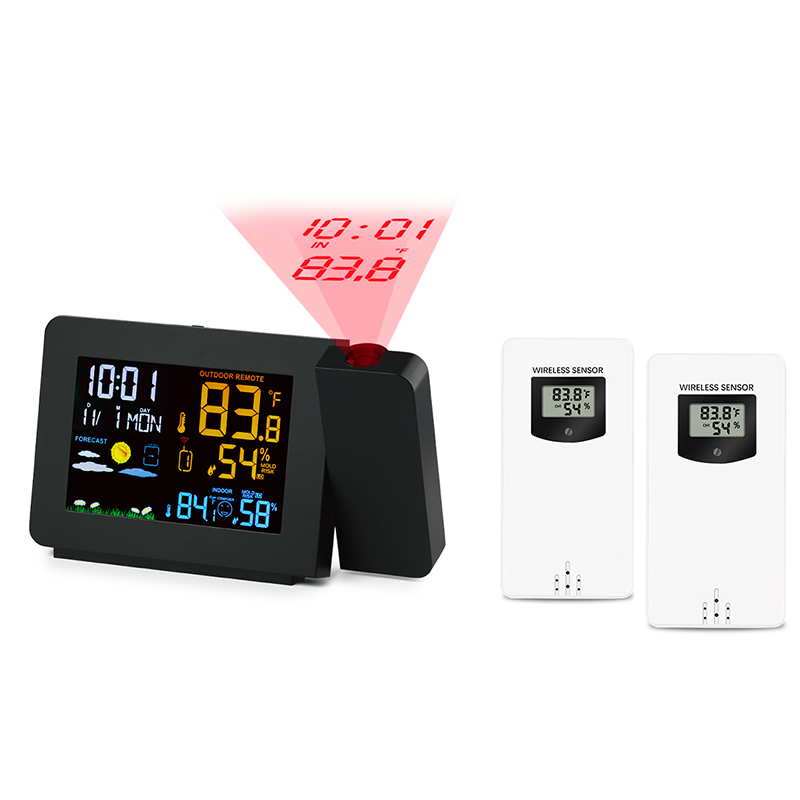 2 Outdoor Sensors Projection Alarm Clock Weather Station Colorful Backlight With Humidity in/outdoor Temperature Time Projector2 Outdoor Sensors Projection Alarm Clock Weather Station Colorful Backlight With Humidity in/outdoor Temperature Time Projector