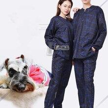 Тип, одежда для груминга, анти-шерсть, защита от брызг воды, рабочая одежда, напечатанный логотип с таким же типом одежды для мытья собак