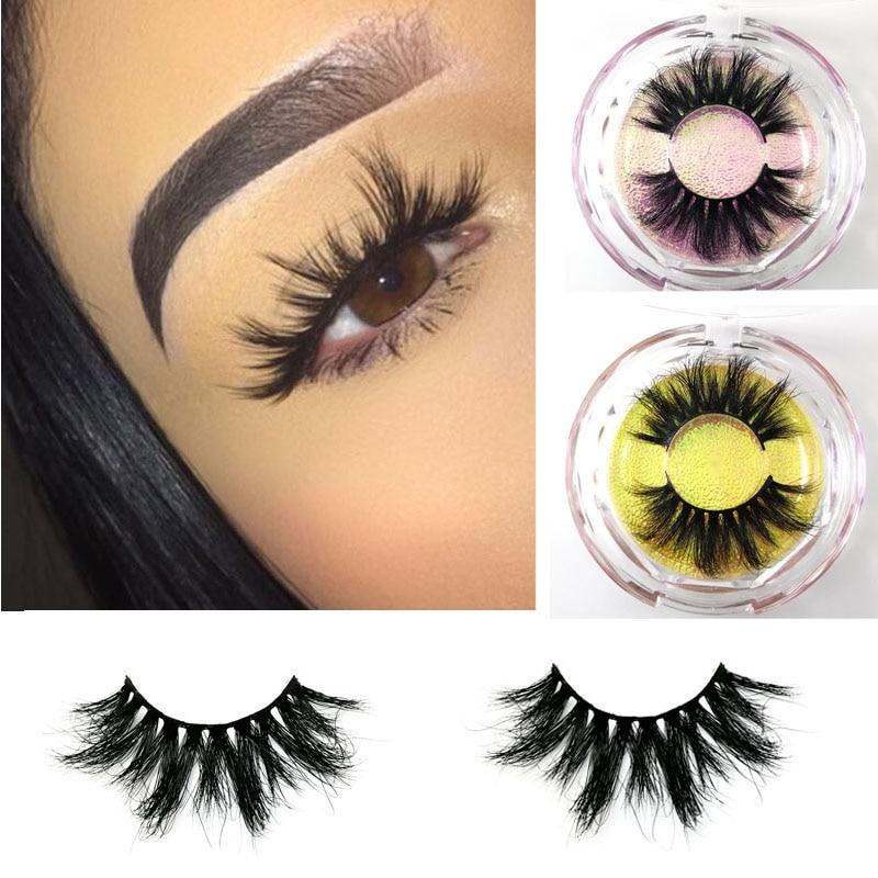 Luxury 25mm long mink eyelashes  Siberian  Strips False 3D lashes  natural thick lashes  diamond box eyelashes door wireless with monitor