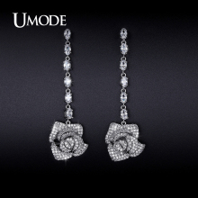 UMODE 2016 Newest Flower Crystal Dangle Earrings For Women Jewelry Brincos Para As Mulheres Christmas Gifts Bijoux Femme AUE0230