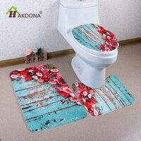 HAKOONA 3 pieces Designs Toilet Seat Cover & Rug Flannel Bathroom Set Non Slip Mat Decorations