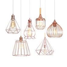 Nueva lámpara colgante de hierro dorado para sala de estar decoración estilo Loft lámpara de madera geométrica Vintage Retro Led E27 lámpara colgante