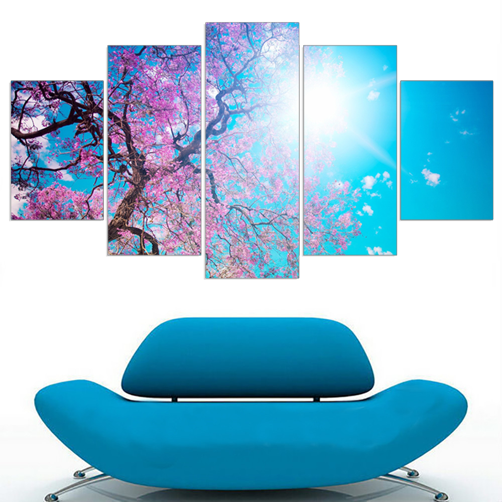 Hot Modular Oil Painting Unframed Cherry Blossom Tree A4 Art Poster HD Canvas Picture Flowers Wall Sticker Home Decoration 5pcs