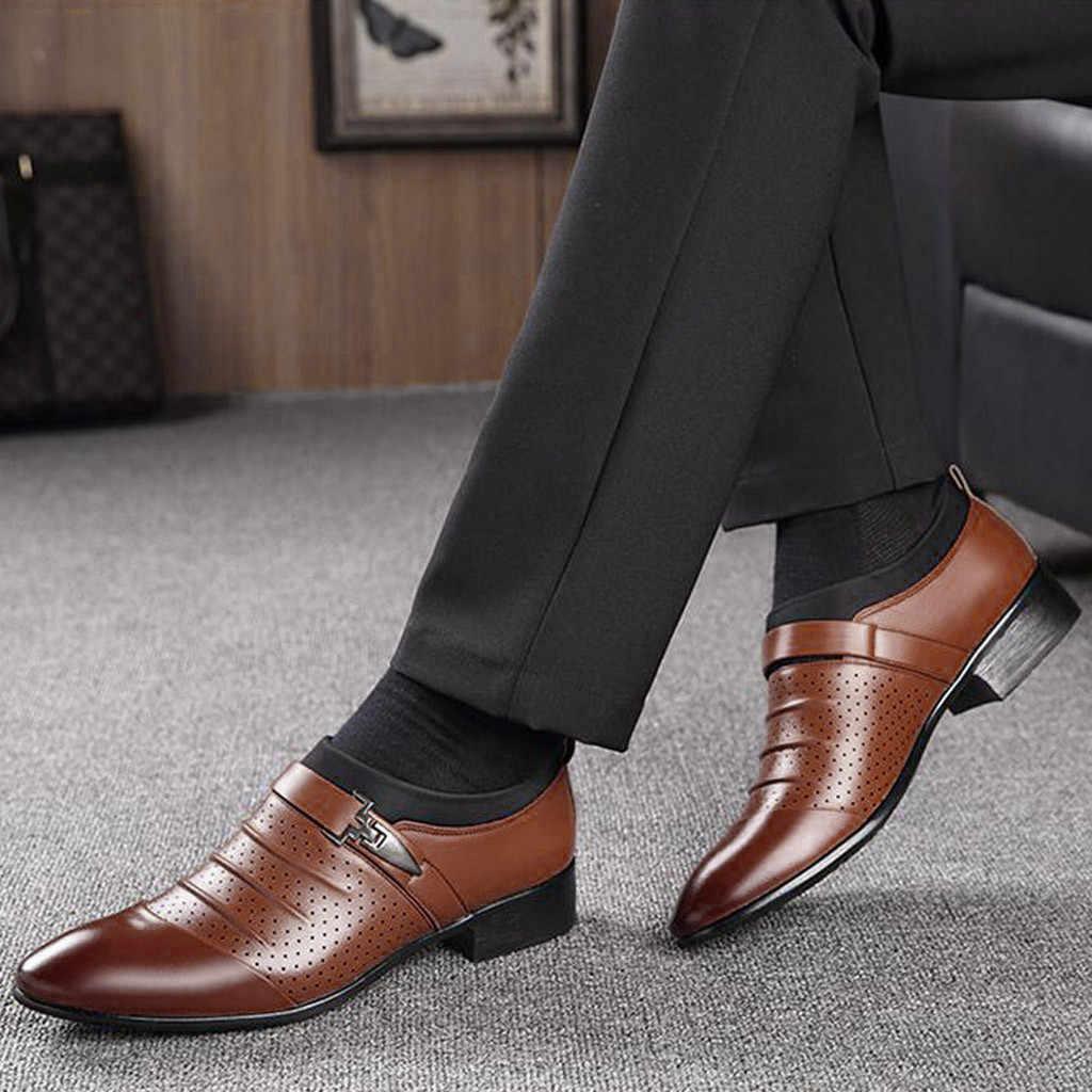Klassische Business männer Kleid Schuhe Mode Elegante Formale Hochzeit Schuhe Männer Slip Auf Büro Oxford Schuhe Für Männer Schwarz