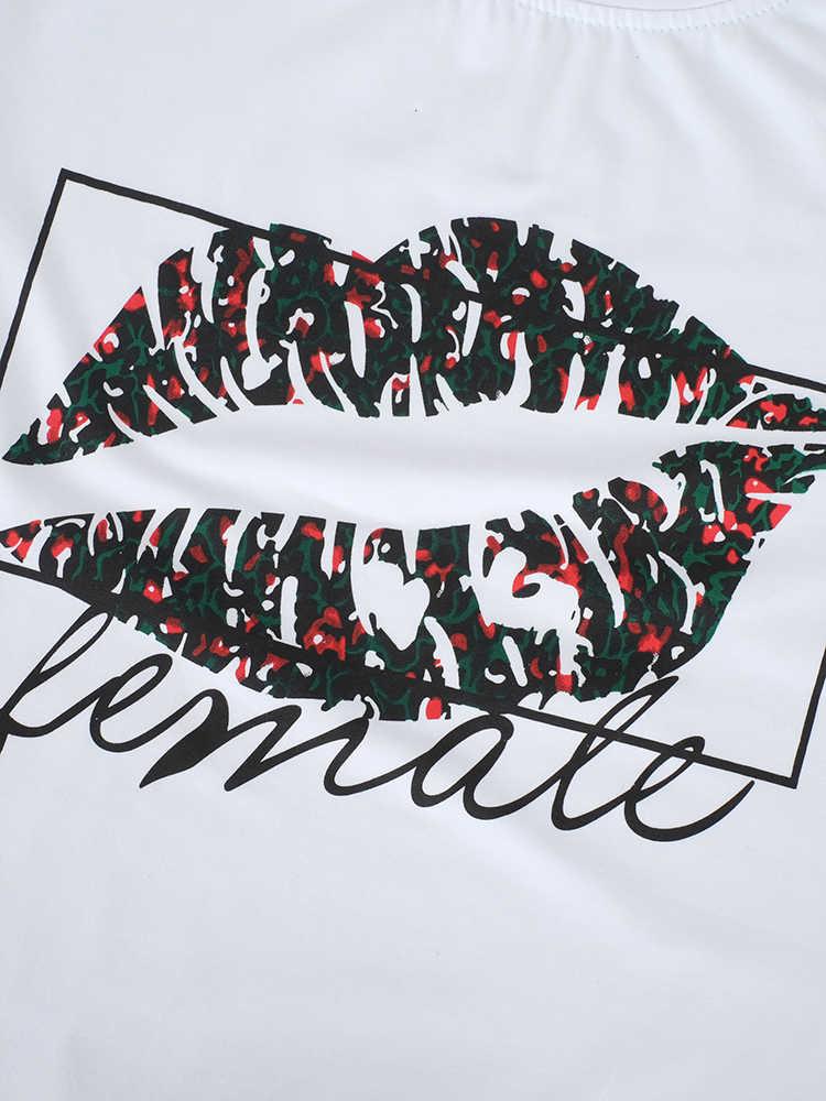 OOTN Sexy Lips Imprimir Tshirts Verão Mulheres Camisas Brancas T Feminino Casual 2019 Camiseta Femme Tops de Manga Curta Floral chemise