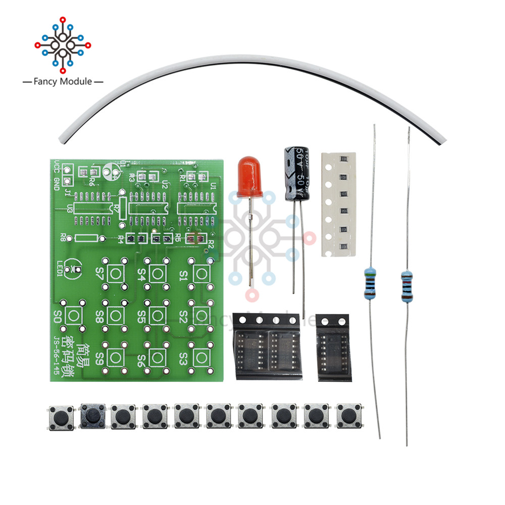 US $1 82 |DIY Kits Multi Functional Coded Lock Suite Simple Electronic  Circuit Password Lock Module Training Parts -in Instrument Parts &  Accessories