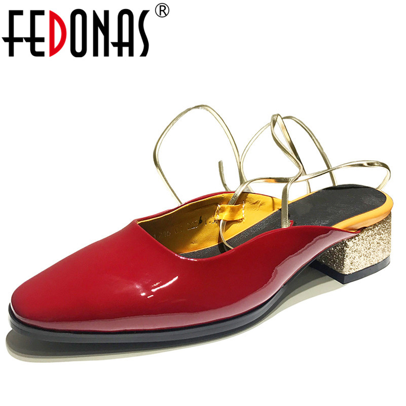 FEDONAS Fashion Brand Women High Heels Pumps Cross-tied Comfortable Summer Sandals New Glitters Wedding Party Shoes Woman New hee grand cross tied women sandals summer sexy square high heels flock wedding shoes woman elegant pumps ladies 3 colors xwz2049