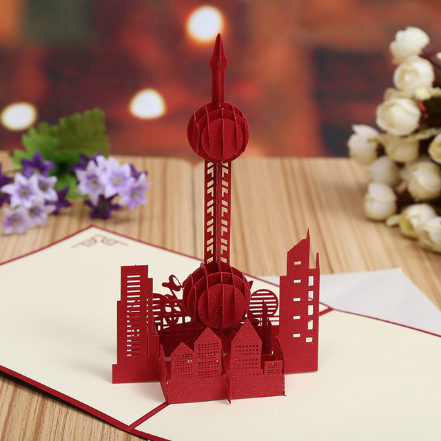 Manufacturers selling the oriental pearl 3d creative city manufacturers selling the oriental pearl 3d creative city attractions selling greeting cards hollow stereo souvenir card m4hsunfo