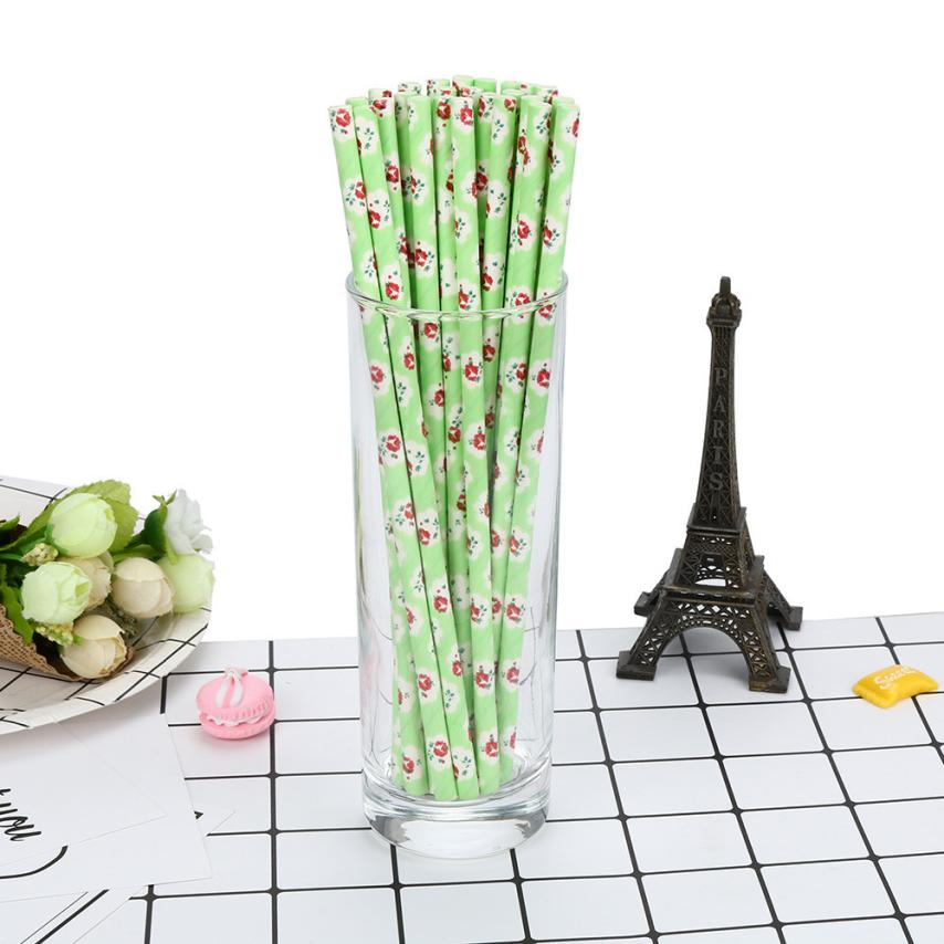25pcs 3stylesFlower Printing drinking paper straws for kids birthday party wedding christmas decoration chevron drinking straws