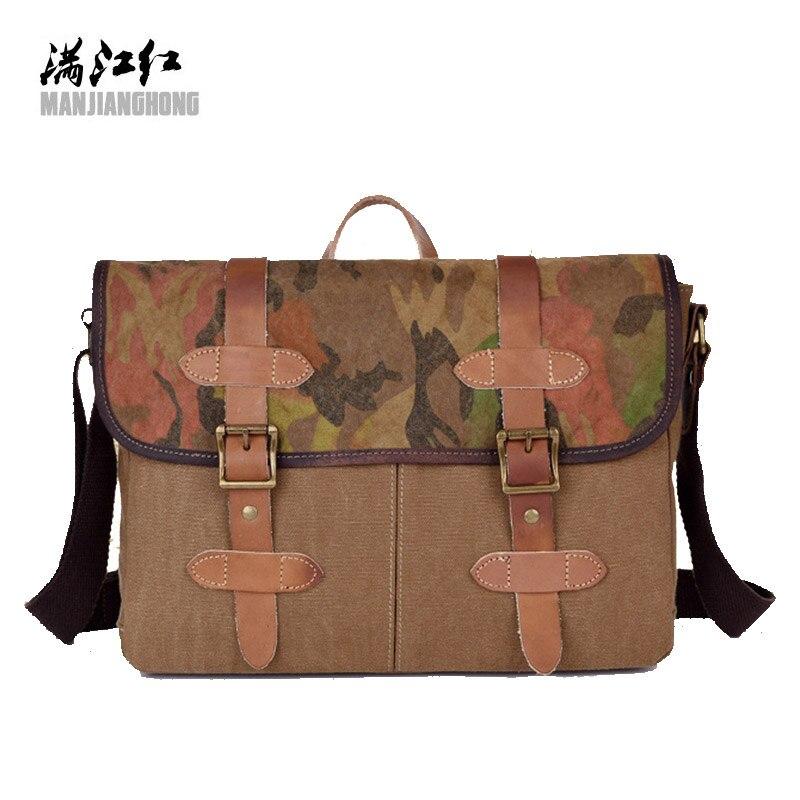 MANJIANGHONG solide hommes sac à bandoulière hommes toile mâle sacs à bandoulière bussiness toile sac à main pour adolescent voyage Camouflage sac