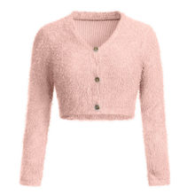 Clothing women's hot sale ladies fashion sexy V-neck short paragraph exposed navel girl long-sleeved furry casual sweater(China)