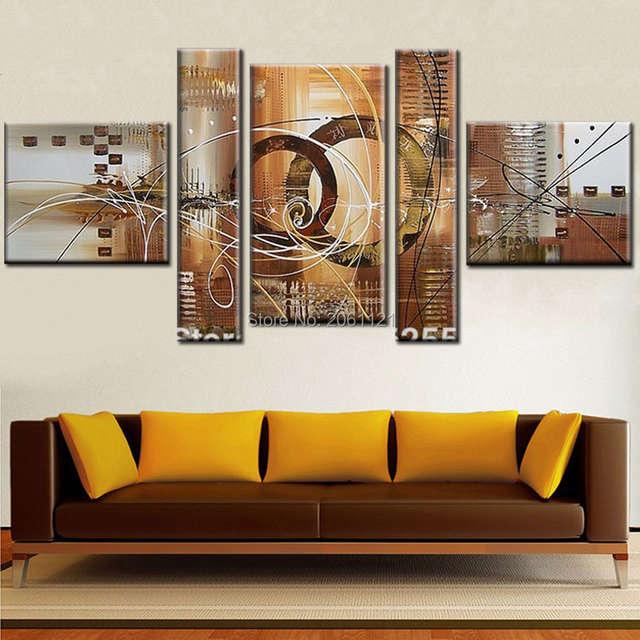 36 5 Moderne Toile Abstraite Peinture Murale Gris Beige Fait à La Main Huile Photo Mur Toile Art Irrégulière Pas Cher Maison Décorative œuvre In