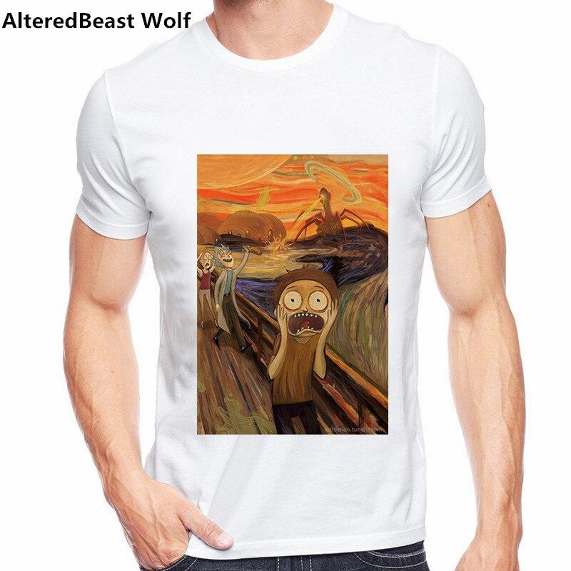 2017 Men   T  -  shirt   Anime Rick and morty the scream Print   T     Shirt   O-Neck Short Sleeve Anime   T     Shirt   Homme Rick Morty Tops & Tees