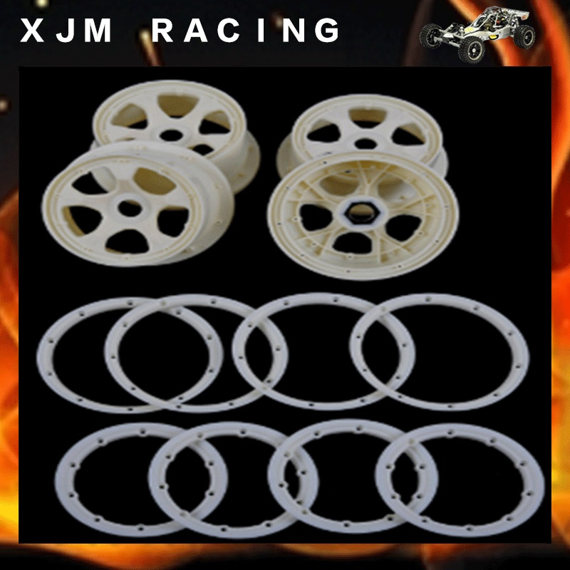 Four generations high strength nylon front&rear wheel hub and rim for 1/5 hpi rovan baja 5b parts gtbracing 2 front and 2 rear wheel hub rim with beadlock ring for 1 5 losi 5ive t rovan lt km x2