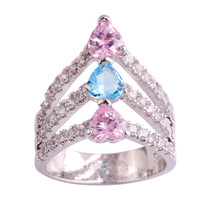 lingmei New Fashion Jewelry Wedding Engagement Pink Blue White Topaz 925 Silver Ring Size 6 7 8 9 10 11 Wholesale Free Shipping