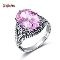 Szjinao Sterling Silber Rosa Hochzeit Kristall Finger Ring Punk Schmuck großhandel Vintage 925 Sterling Silber Ringe Für Frauen