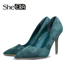 She ERA Plus size Women Pumps 2017 Sexy High Heels Pointed Toe Party Shoes Woman Wedding Office Pumps Red Green Zapato Mujer